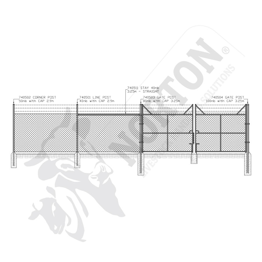 galvanised-posts-and-stays-chain-mesh-fencing
